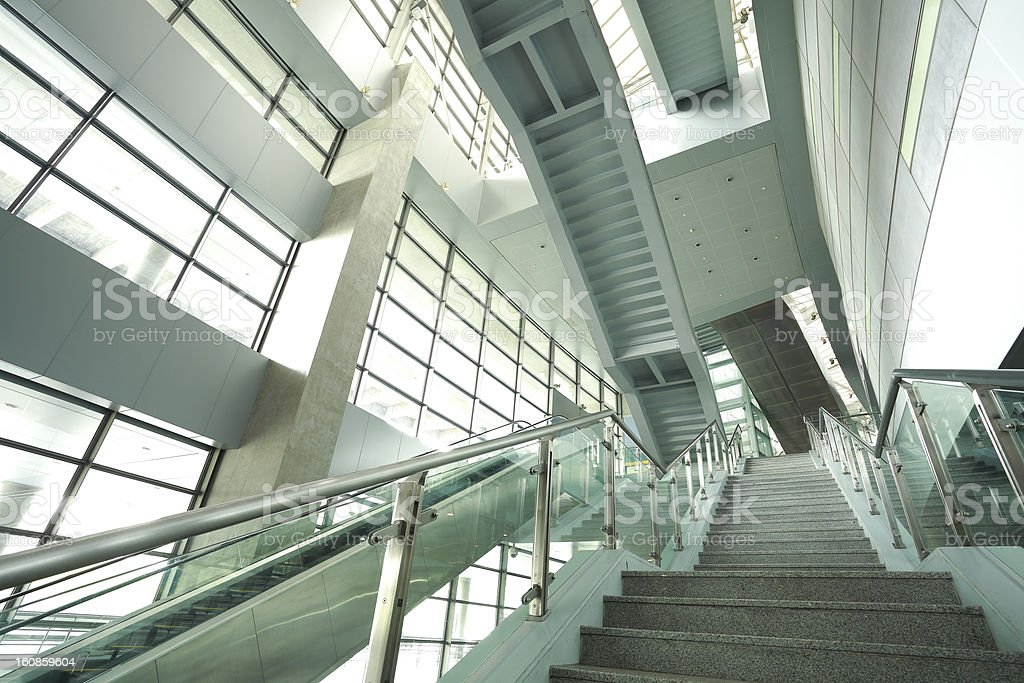 modern steps of moving business escalator royalty-free stock photo