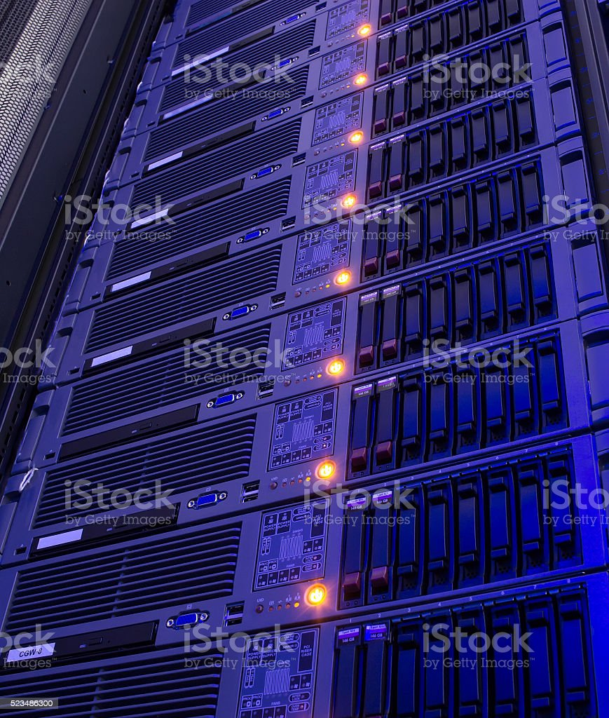 Modern storage of blade servers in the data center vertical stock photo