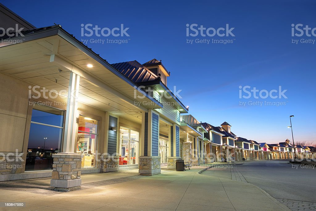 Modern Store Building Exteriors at Sunset stock photo