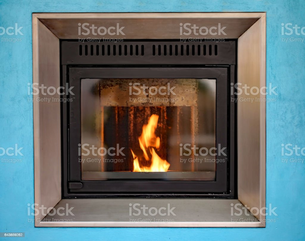 modern stove to decorate and heat the house stock photo