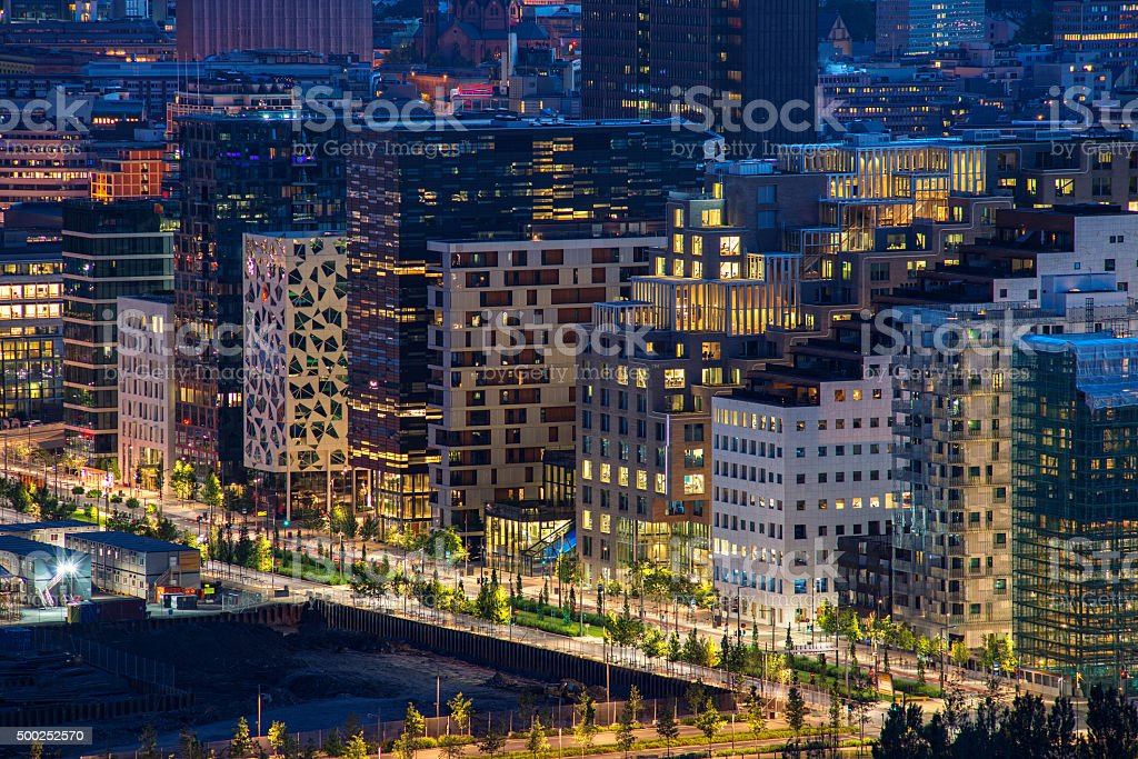 Modern street in Oslo city business center, Norway stock photo