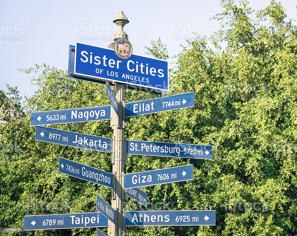 Modern street sign of Sister Cities of Los Angeles stock photo