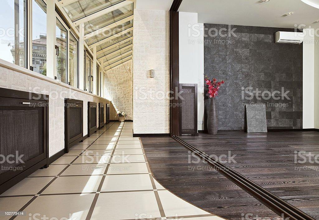 Modern studio and balcony (gallery) interior royalty-free stock photo