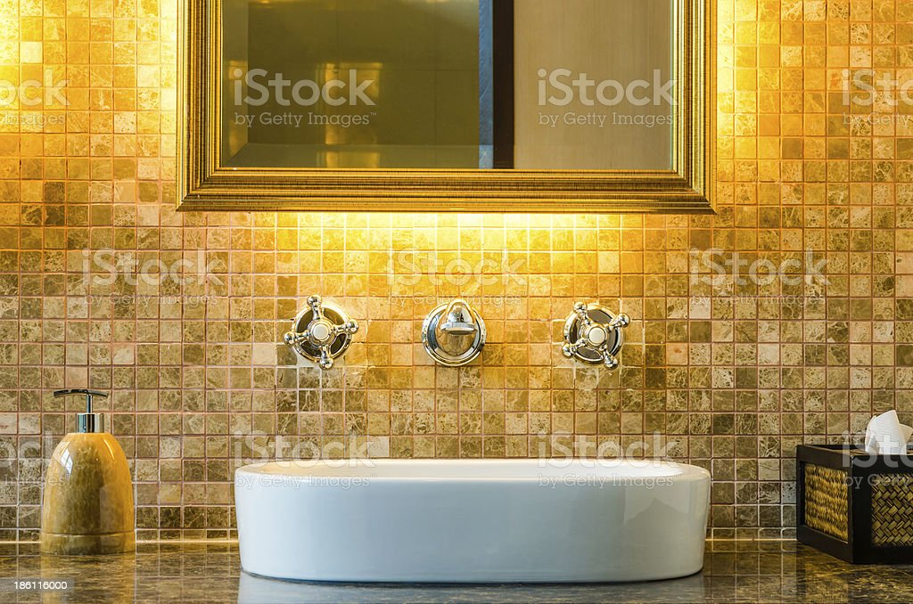 Modern style interior design of a bathroom stock photo