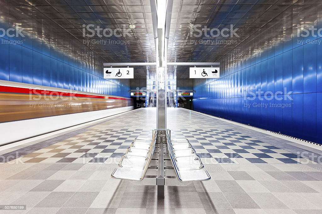 Modern Subway Station With Motion Blurred Train royalty-free stock photo