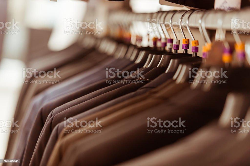 Modern suit shop stock photo