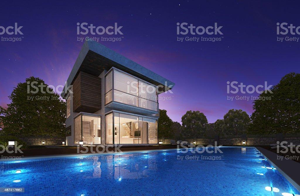 Modern summer villa stock photo
