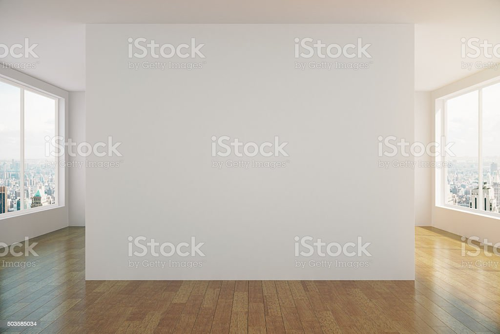 Modern sunny empty loft room with white wall stock photo