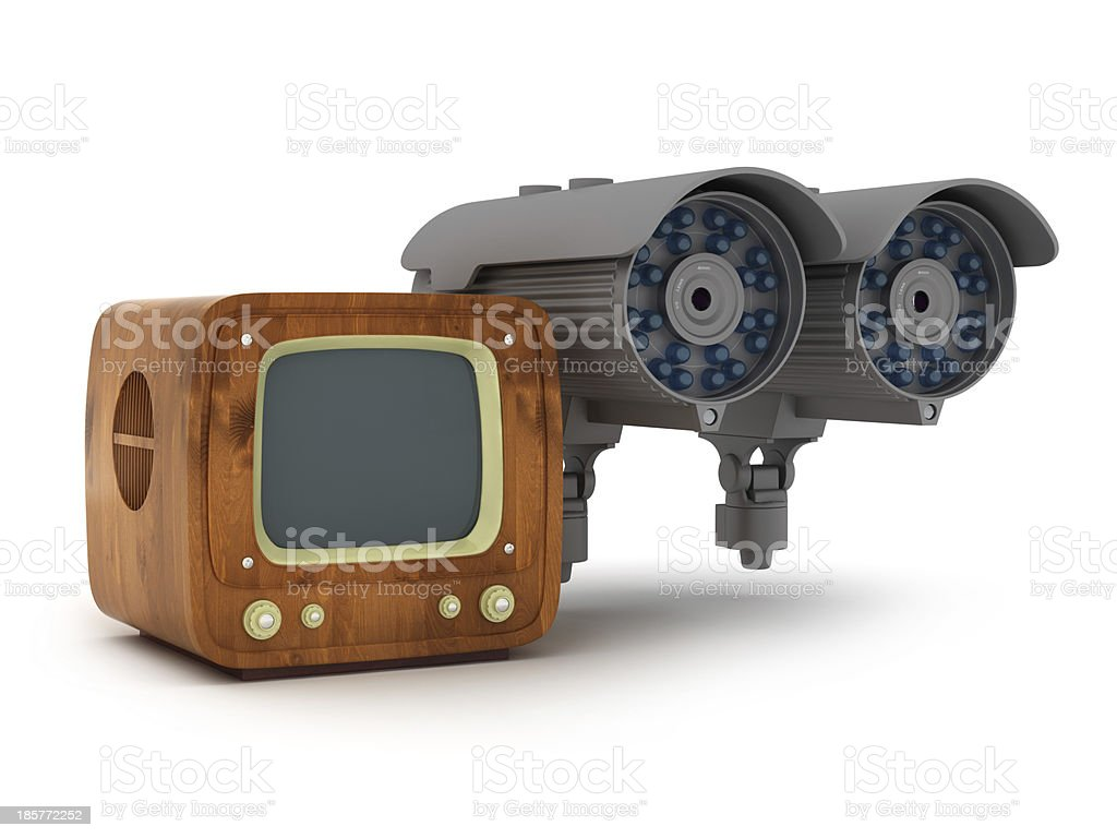 Modern surveillance camera and retro tv on white background royalty-free stock photo