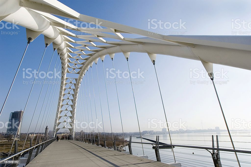 Modern Suspended Bridge/Walkway stock photo