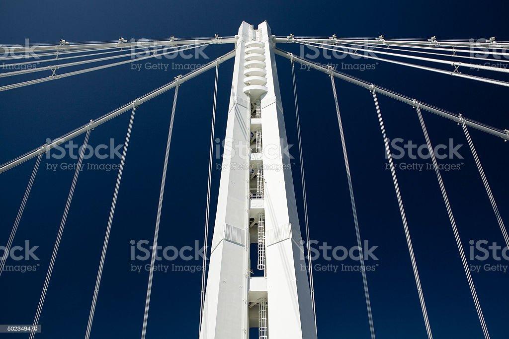 Modern Suspension Bridge Tower stock photo