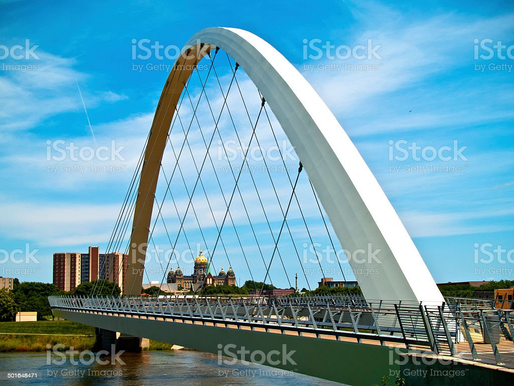Modern Suspension Walking Bridge and Capitol stock photo