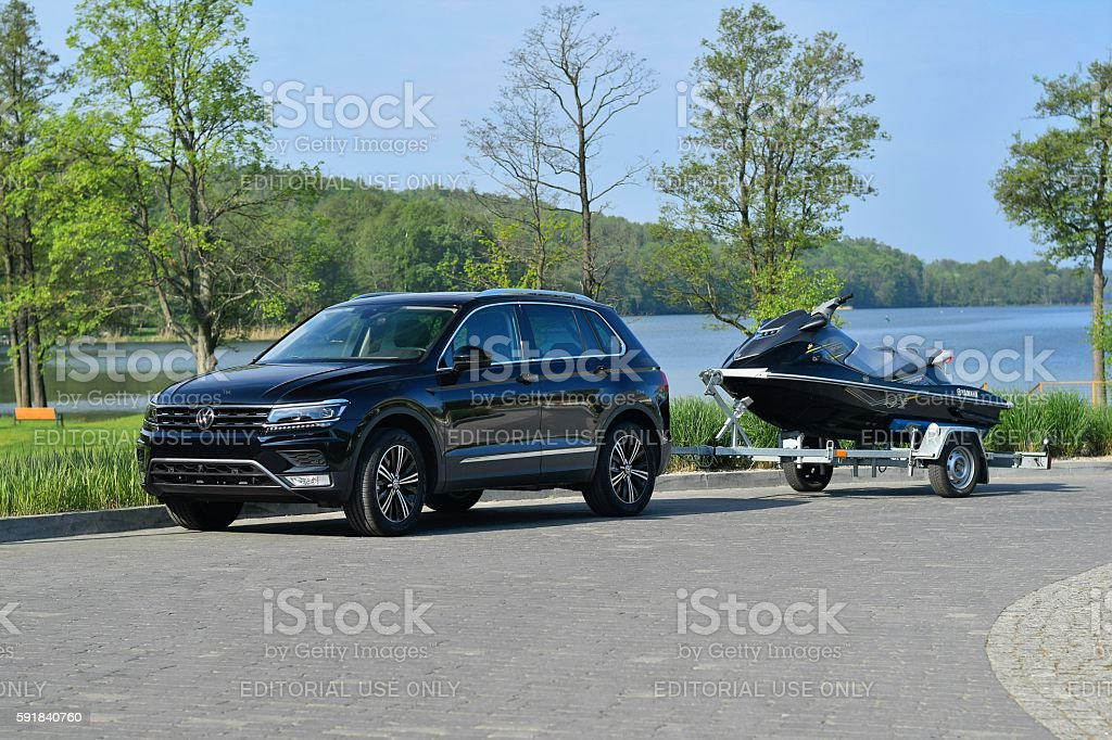 Modern SUV with trailer and jet ski stock photo
