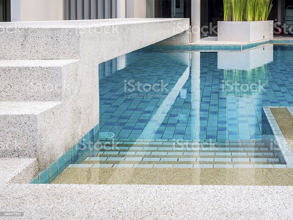 Modern swimming pool at tropical residence stock photo
