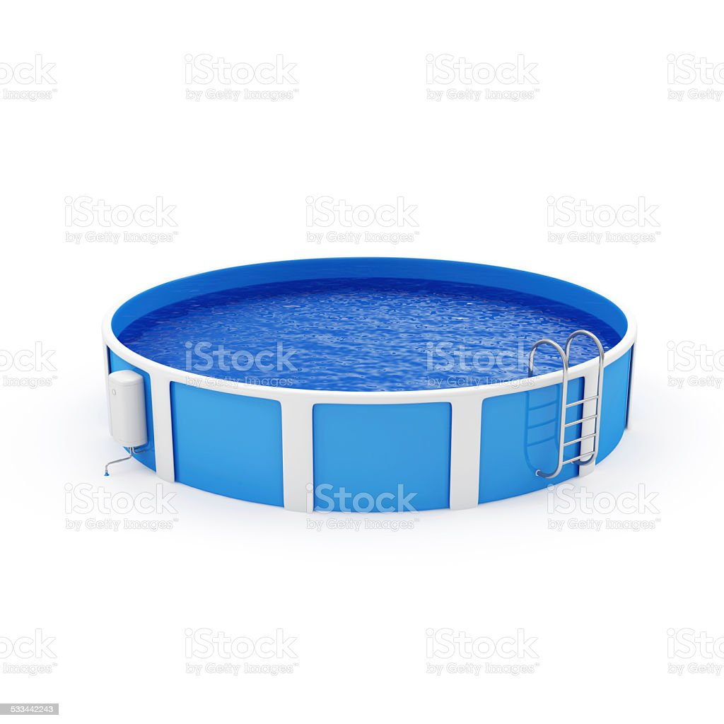 Modern Swimming Pool isolated on white background stock photo