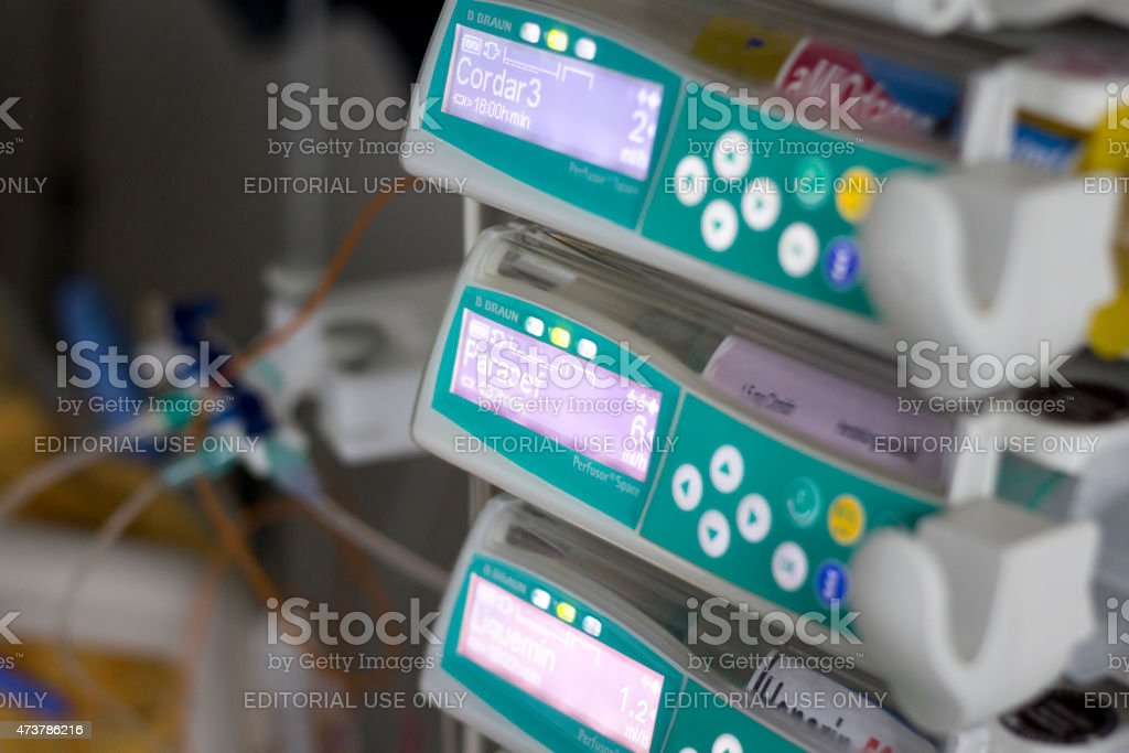 Modern syringe pumps and devices in the ICU stock photo