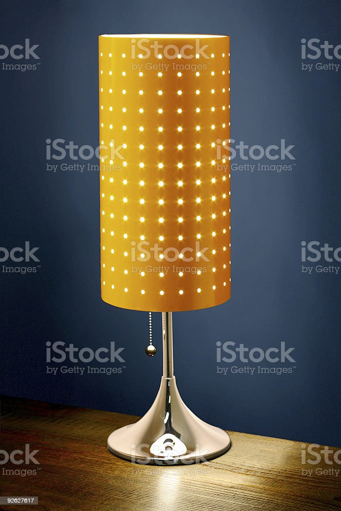 Modern table lamp very carefully lit! royalty-free stock photo