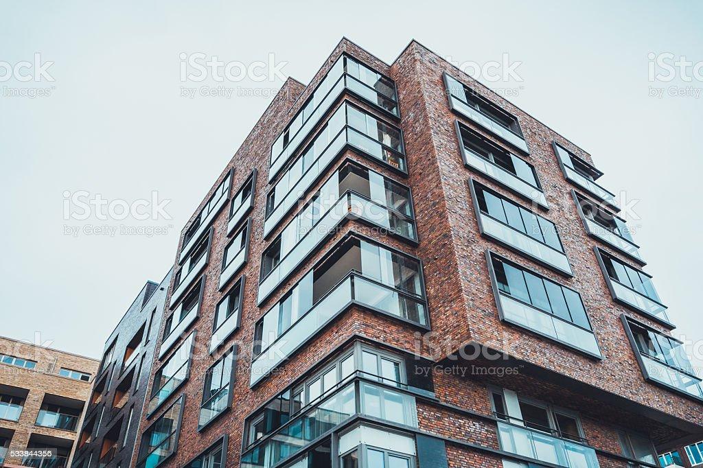 Tall brick apartment building