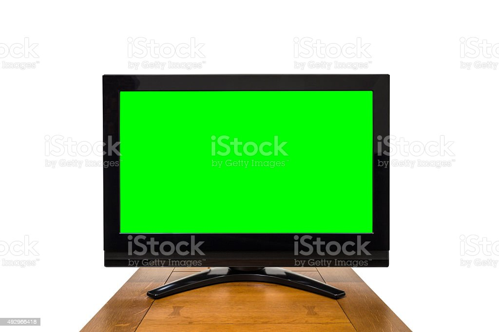 Modern Television Isolated on White with Chroma Key Green Screen stock photo