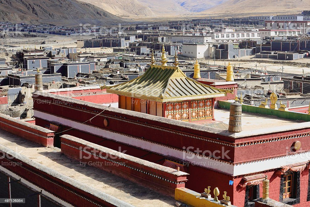 Modern temple-grounds of the ancient monastery's North Seat. Sakya-Tibet. 1830 stock photo