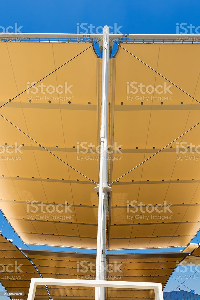 Modern Tensile Structure on Blue Sky stock photo