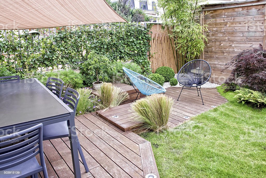 Modern terrace  and garden stock photo