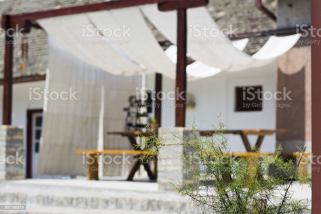 Modern terrace in rural backyard stock photo