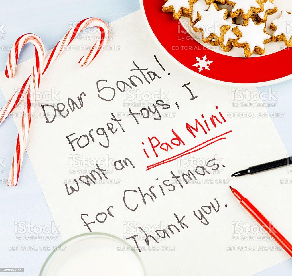 Modern Times Letter to Santa: I want an iPad Mini royalty-free stock photo