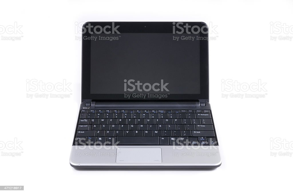 Modern tiny netbook computer isolated on white royalty-free stock photo