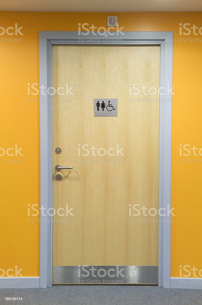 Modern toilet door stock photo