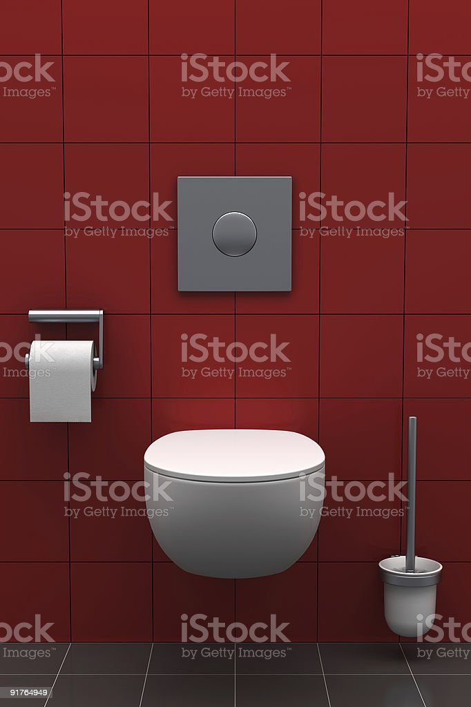 modern toilet with red tiles on wall royalty-free stock photo
