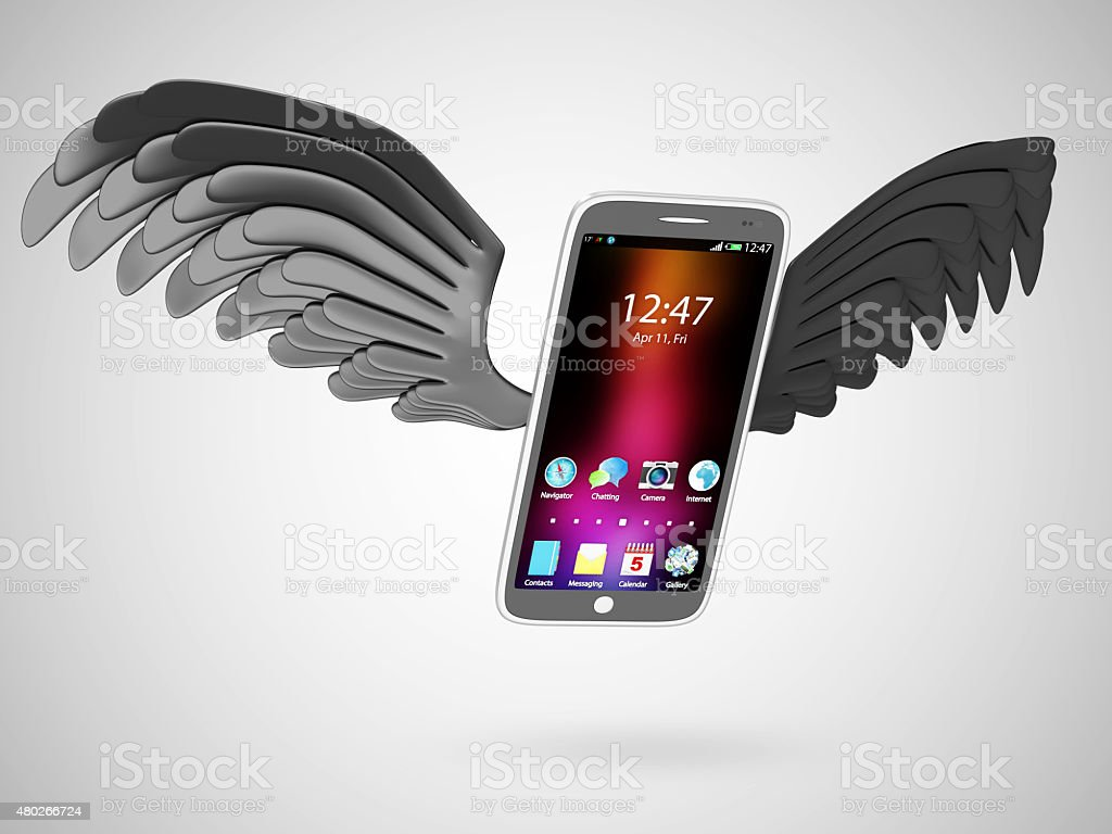 Modern Touchscreen Smart Phone with Black Flying Wings stock photo