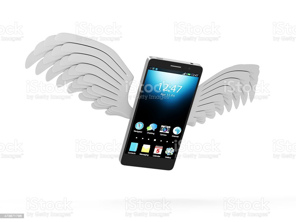 Modern Touchscreen Smart Phone with White Flying Wings stock photo