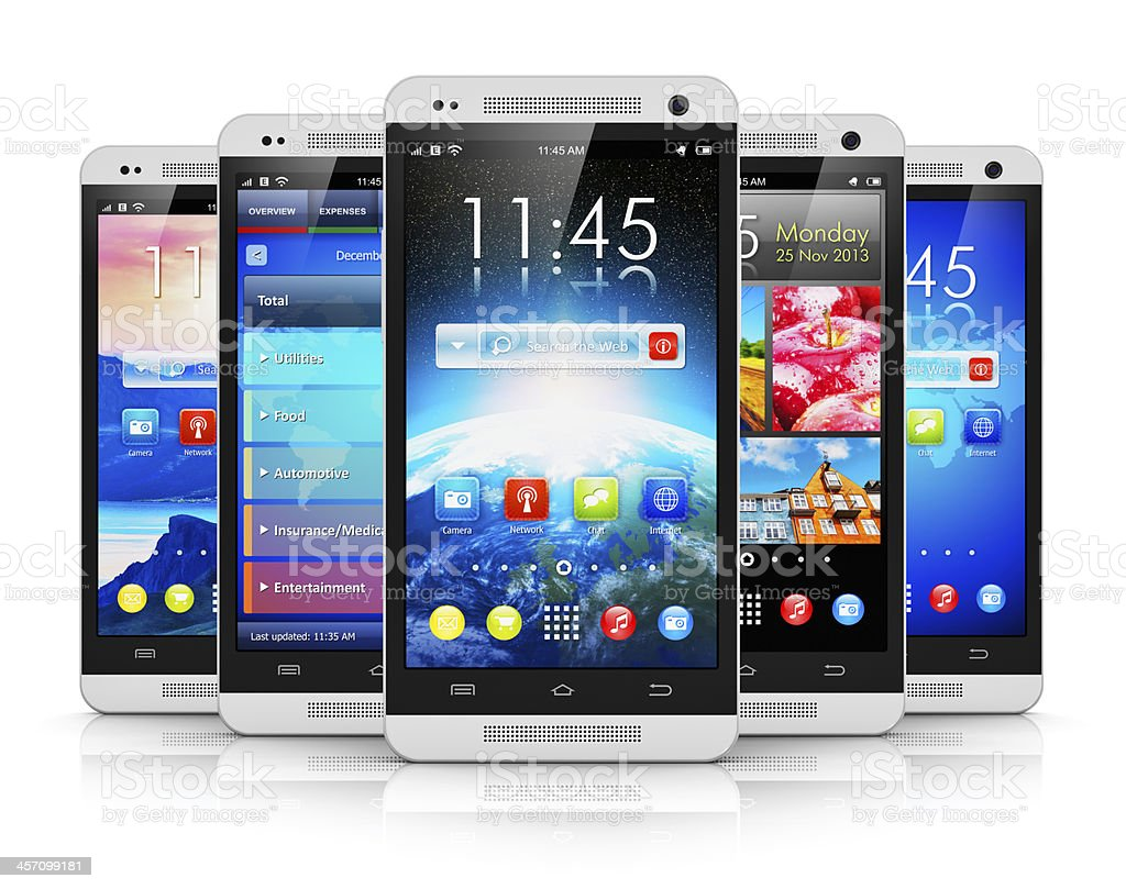 Modern touchscreen smartphones royalty-free stock photo
