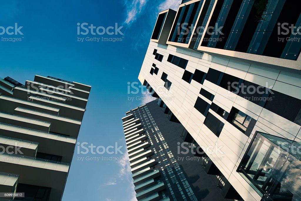 Modern Towers and skyscrapers and sky stock photo