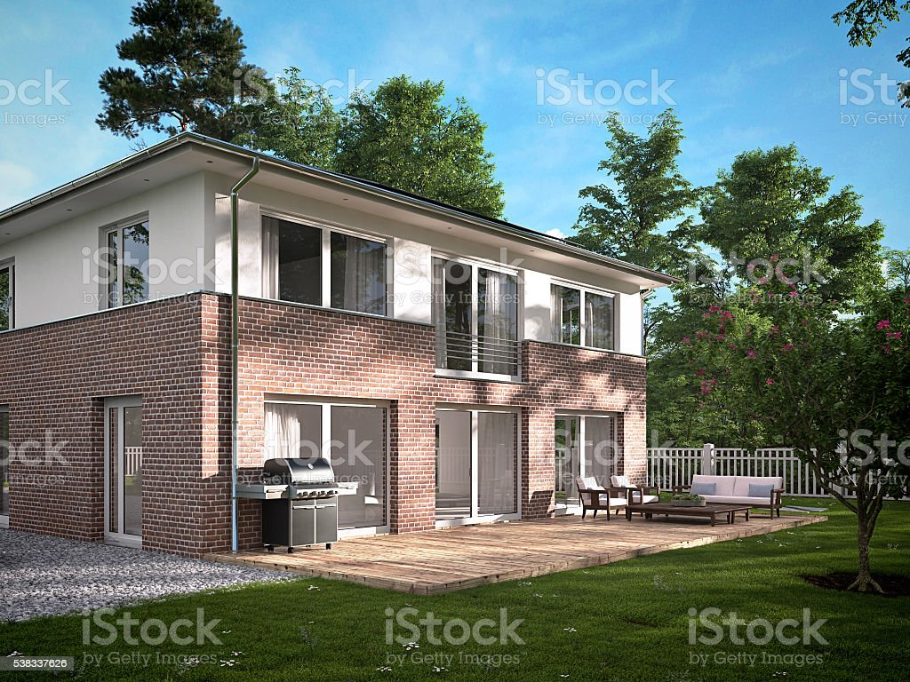 modern townhouse. 3d rendering stock photo