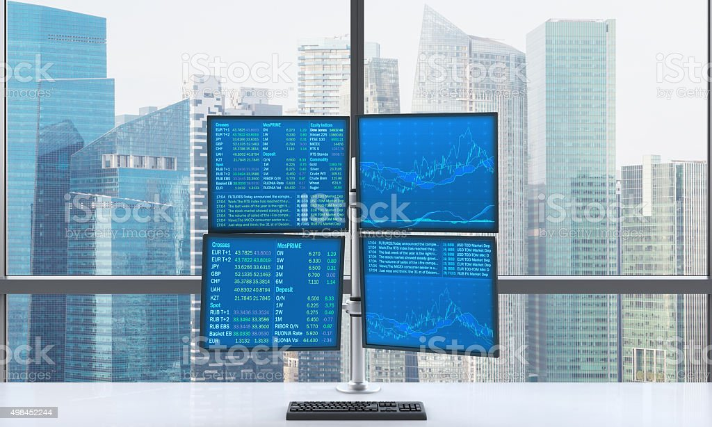 modern trader's workplace stock photo