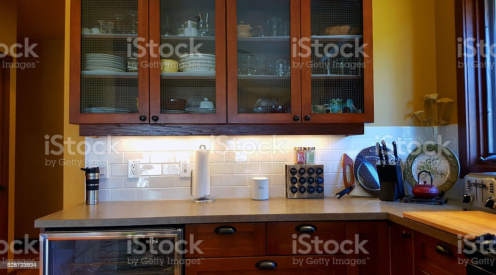 Modern Traditional Kitchen Focusing on Cabinets stock photo
