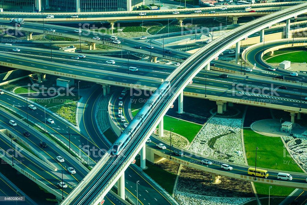 Modern traffic junction in Dubai, United Arab Emirates stock photo