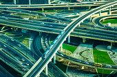 Modern traffic junction in Dubai, United Arab Emirates