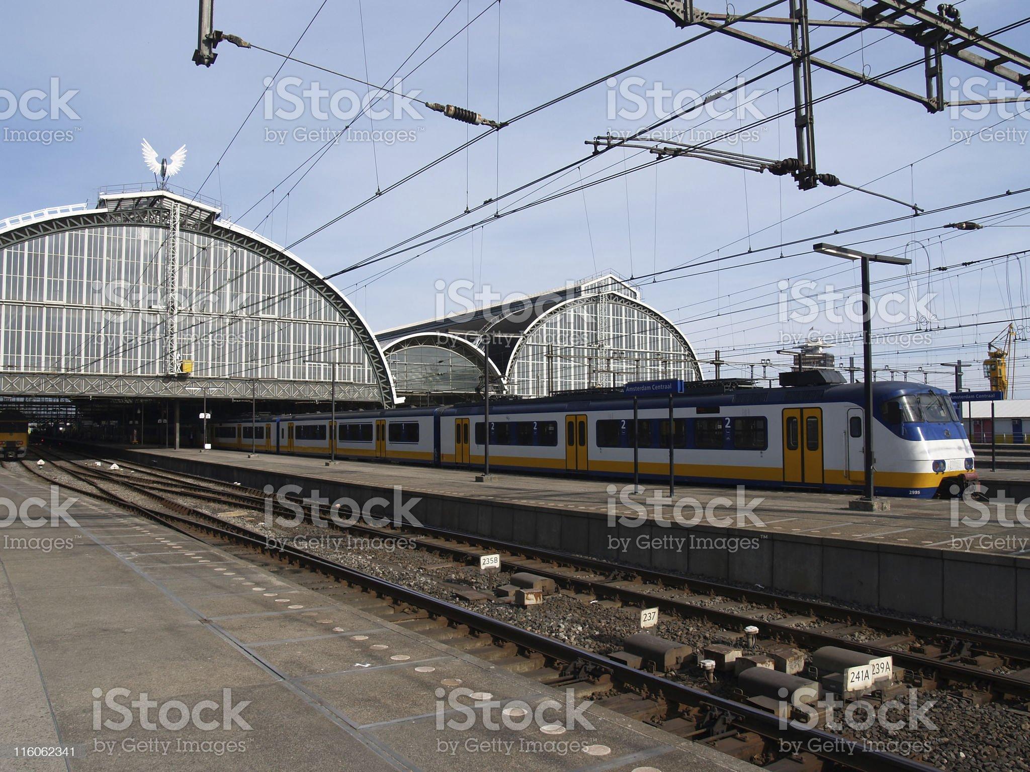 Modern Train At Station royalty-free stock photo