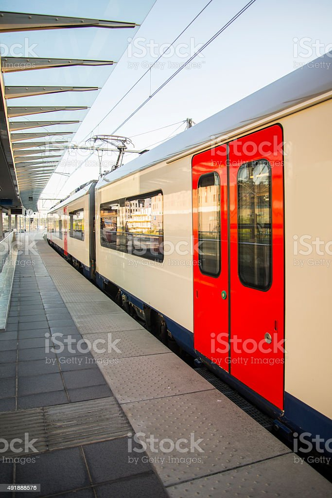 Modern train at station stock photo