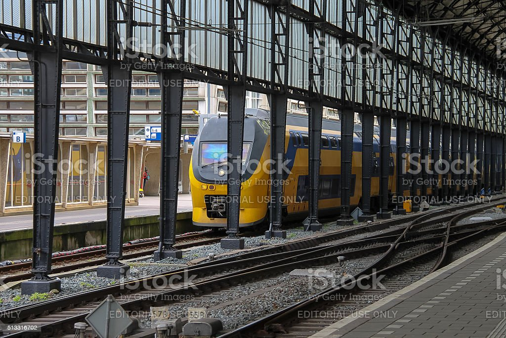 Modern train at the railway station in Haarlem, the Netherlands stock photo