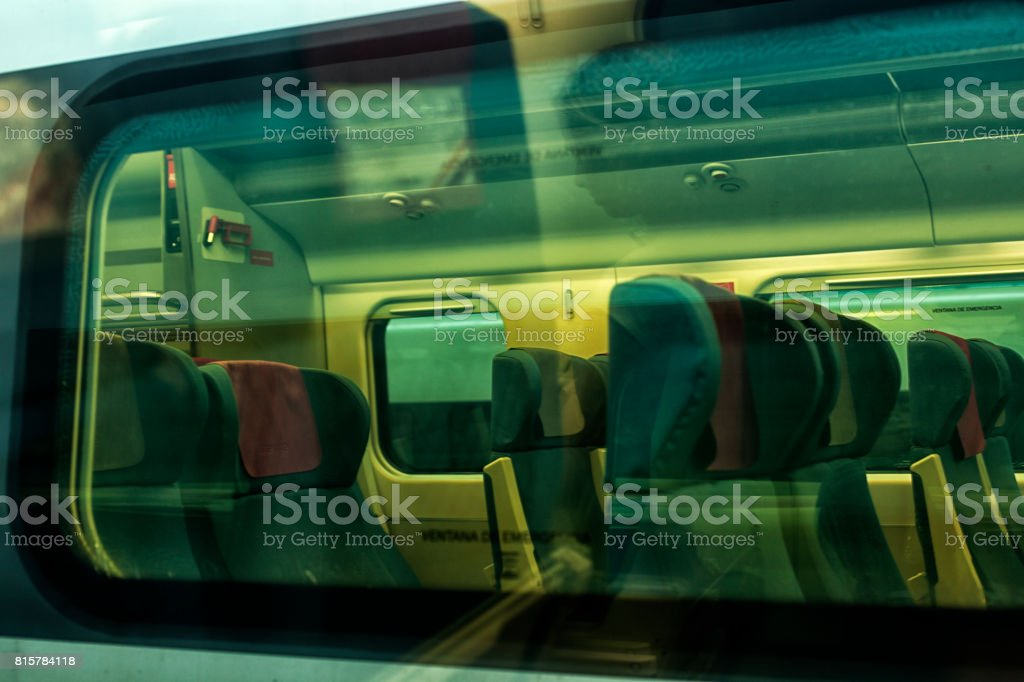 Modern train at the station. stock photo