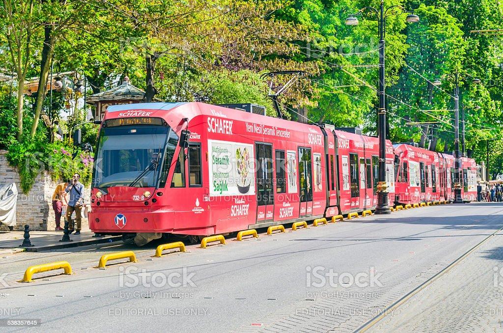 Modern Trains in Beyazit District stock photo