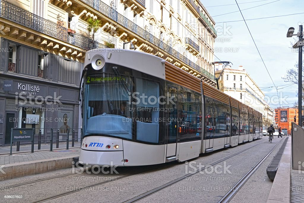 Modern tram in Marseille center stock photo