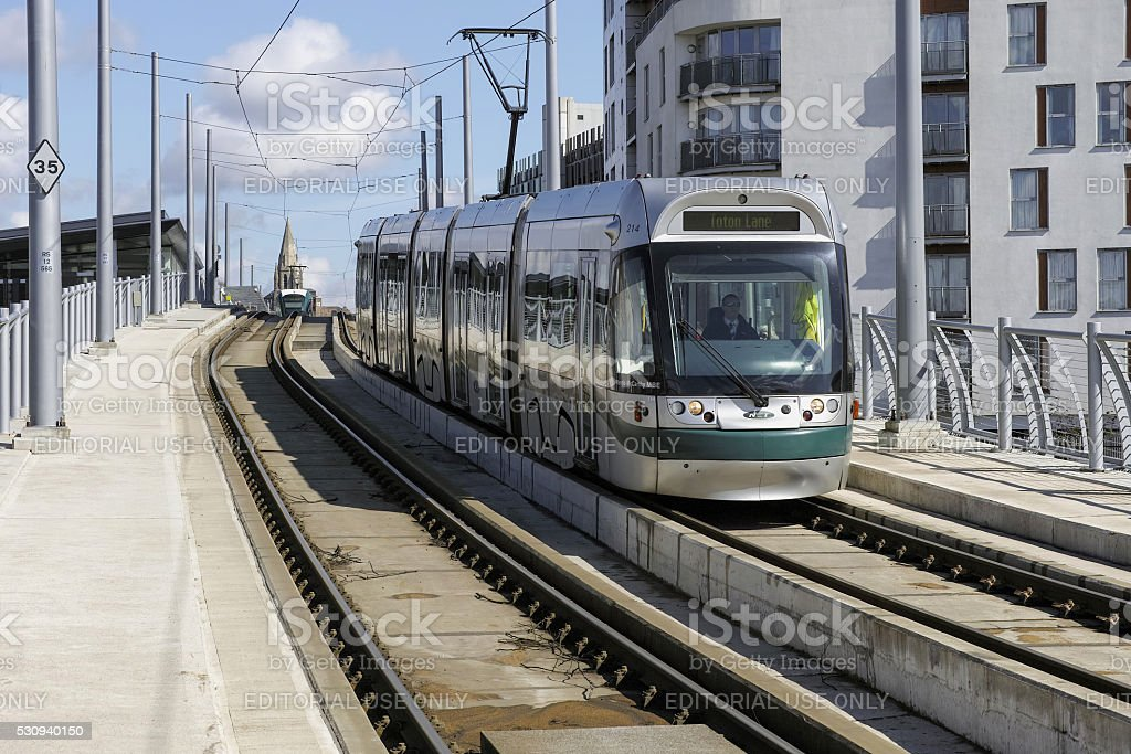 Modern tram in Nottingham City centre. stock photo