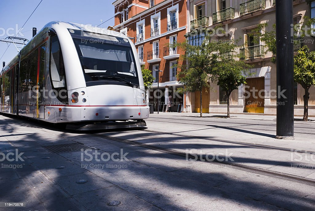 Modern Tram in Seville royalty-free stock photo