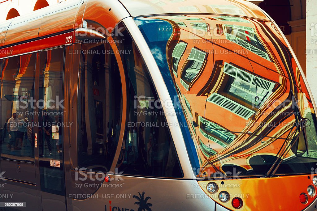 Modern tram in the center of Nice, France stock photo
