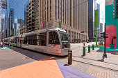 Modern Tram in the city of Houston
